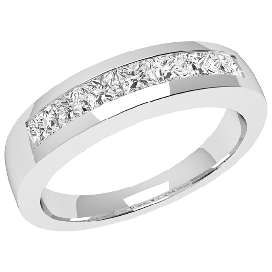 Half Eternity Ring for women in 18ct white gold with 7 Princess cut diamonds in channel setting on Offer-img1