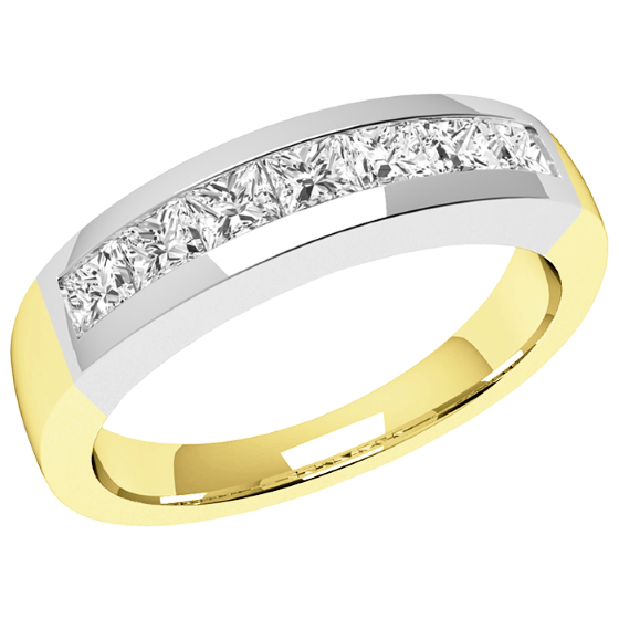 Half Eternity Ring for women in 18ct yellow and white gold with 7 Princess cut diamonds in channel setting-img1