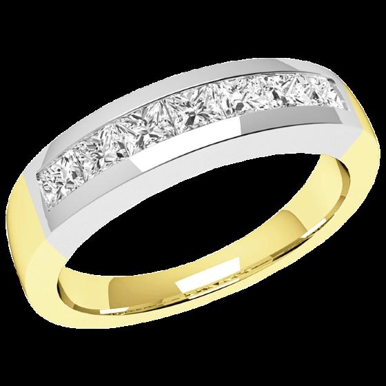 Inel Semi Eternity Dama Aur Galben & Alb, 18kt cu 7 Diamante Princess in Setare Canal in Stoc-img1