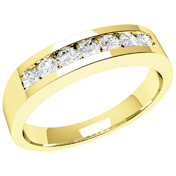Half Eternity Ring/Diamond Set Wedding Ring for women in 9ct yellow gold with 7 round diamonds in channel setting-img1