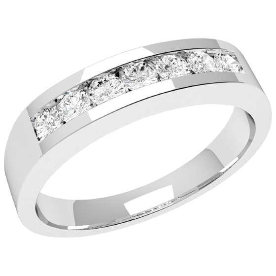 Half Eternity Ring/Diamond Set Wedding Ring for women in 18ct white gold with 7 round diamonds in channel setting-img1