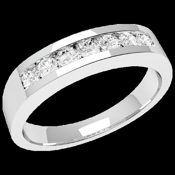Inel Semi Eternity Dama Aur Alb, 18kt cu 7 Diamante Rotund Briliant in Setare Canal-img1