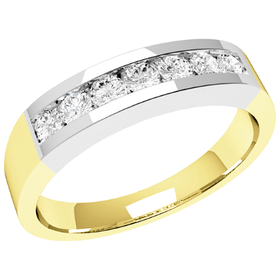 Half Eternity Ring/Diamond Set Wedding Ring for women in 18ct yellow and white gold with 7 round diamonds in channel setting-img1