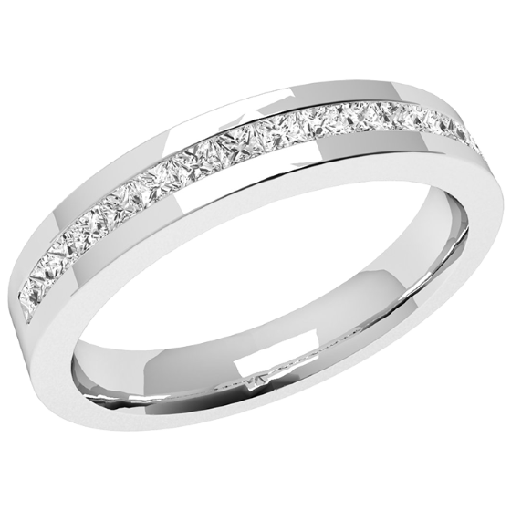 Half Eternity Ring for women in palladium with 15 princess cut diamonds in channel setting-img1