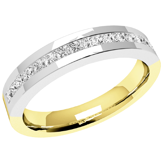 Half Eternity Ring for women in 18ct yellow and white gold with 15 princess cut diamonds in channel setting-img1