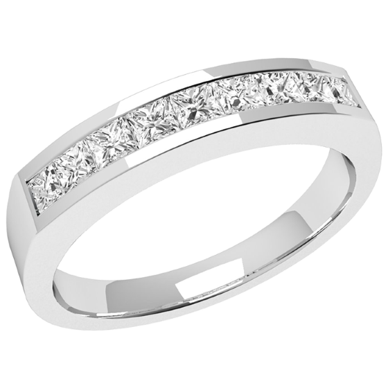 Half Eternity Ring for women in 18ct white gold with 9 Princess cut diamonds in channel setting on Offer-img1