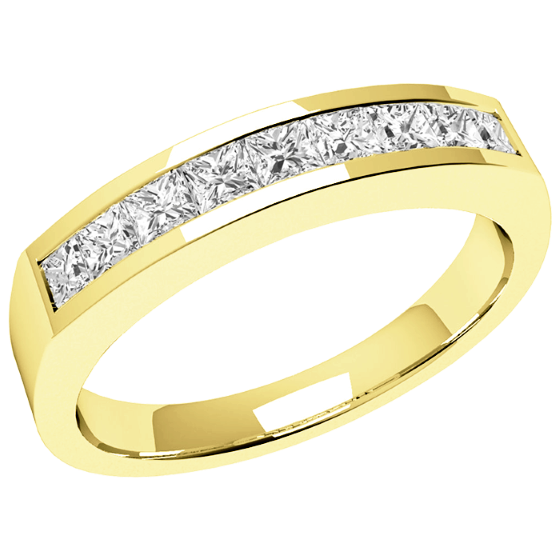 Half Eternity Ring for women in 18ct yellow gold with 9 Princess cut diamonds in channel setting-img1
