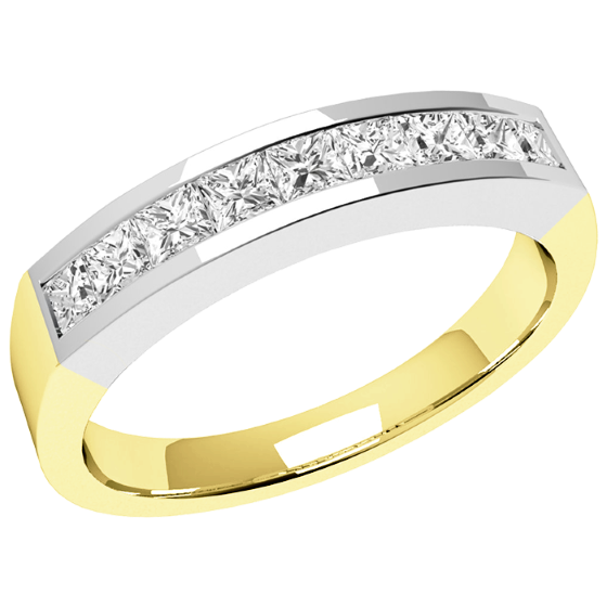 Half Eternity Ring for women in 18ct yellow and white gold with 9 Princess cut diamonds in channel setting-img1