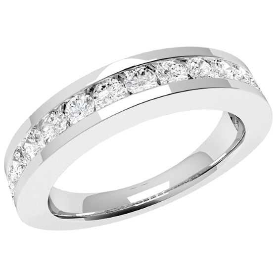 Inel Semi Eternity Dama Platina cu 15 Diamante Rotunde in Setare Tip Canal-img1