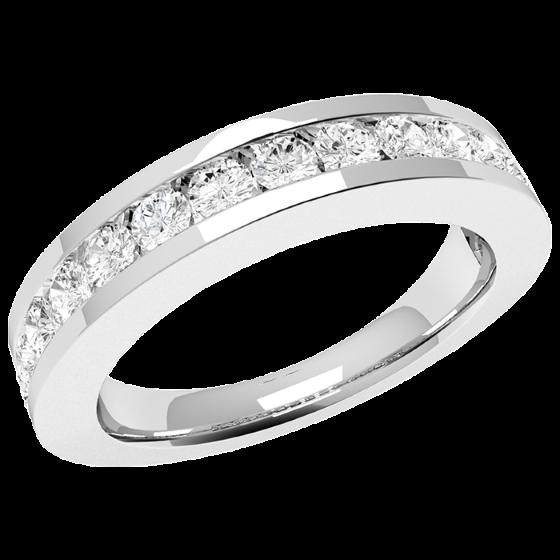 Inel Semi Eternity Dama Aur Alb, 18kt cu 15 Diamante Rotunde in Setare Tip Canal-img1