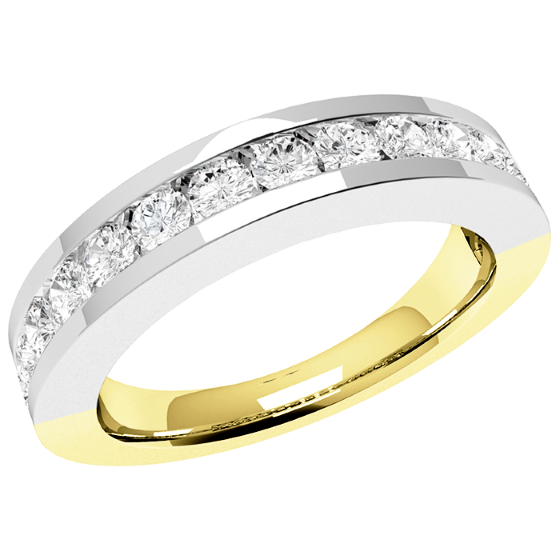 Half Eternity Ring for women in 18ct yellow and white gold with 15 round diamonds in channel-setting-img1