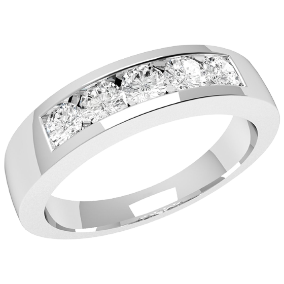 Half Eternity Ring for women in 18ct white gold with 5 round diamonds in a channel setting on Offer-img1