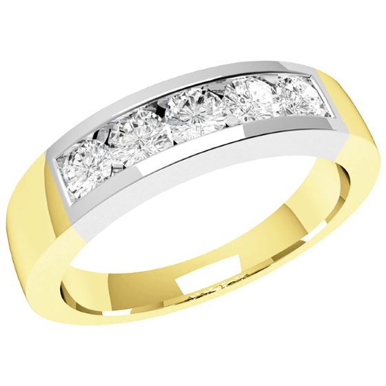Half Eternity Ring for women in 18ct yellow and white gold with 5 round diamonds in a channel setting-img1
