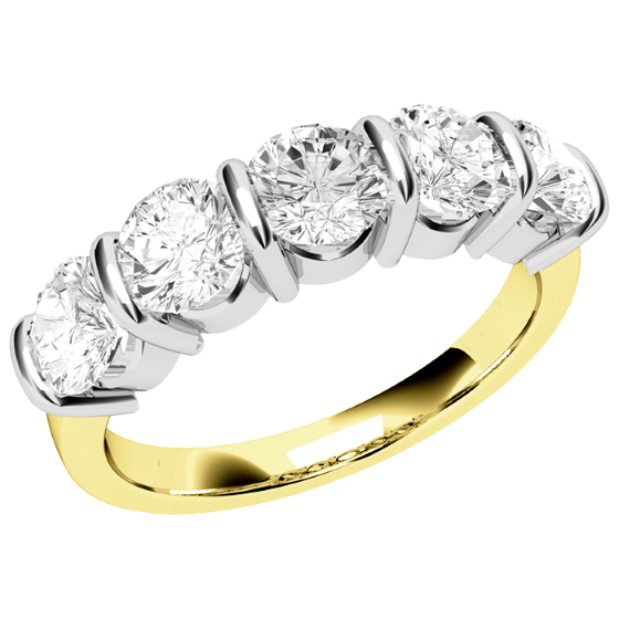 Half Eternity Ring for women in 18ct yellow and white gold with five round diamonds in bar-setting-img1