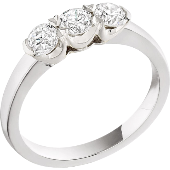 Three Stone Ring/Engagement Ring for women in 18ct white gold with 3 round diamonds in a claw setting-img1