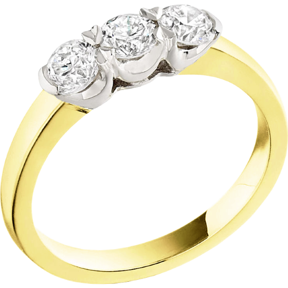 Three Stone Ring/Engagement Ring for women in 18ct yellow and white gold with 3 round diamonds in a claw setting-img1