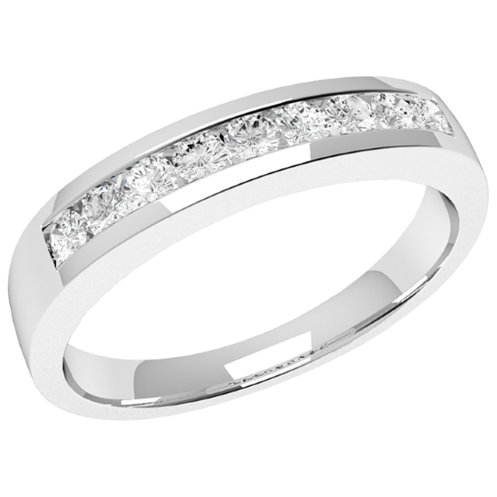Half Eternity Ring for women in palladium with 9 round brilliant cut diamonds in channel-setting-img1