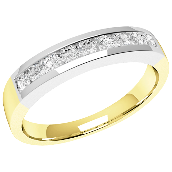 Half Eternity Ring for women in 18ct yellow and white gold with 9 round brilliant cut diamonds in channel-setting-img1