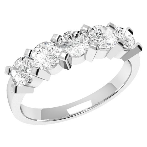Inel Semi Eternity Dama Aur Alb, 18kt cu 5 Diamante Rotunde-img1