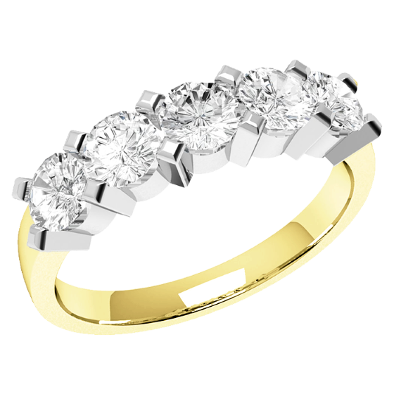 Half Eternity Ring for women in 18ct white and yellow gold with 5 round diamonds-img1