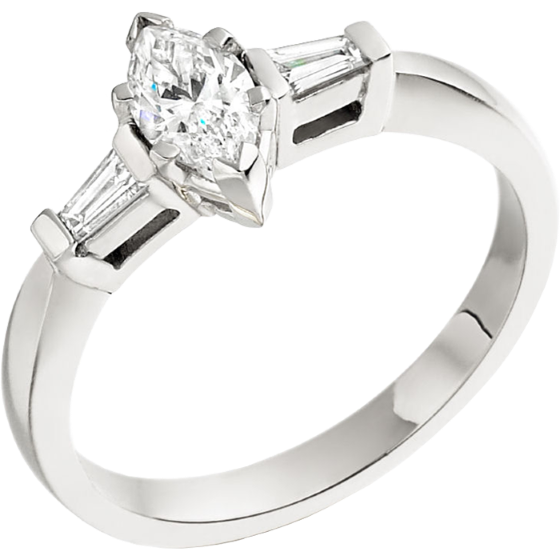 Three Stone Ring/Single Stone Engagement Ring With Shoulders for women in platinum with a marquise cut and two tapered baguette diamonds-img1