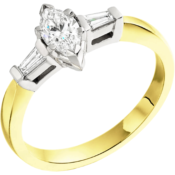 Three Stone Ring/Single Stone Engagement Ring With Shoulders for women in 18ct yellow and white gold with a marquise cut and two tapered baguette diamonds-img1