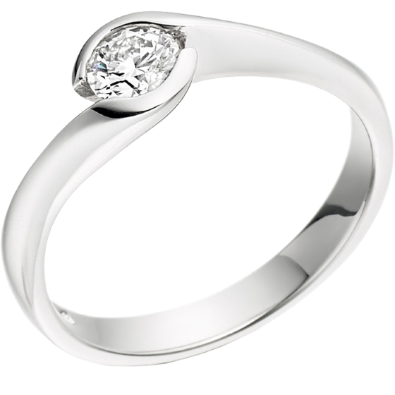 Single Stone Engagement Ring for Women in 9ct White Gold with a Round Diamond in a Rub-over Setting-img1