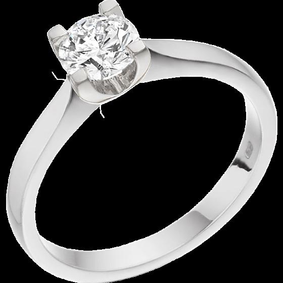 Inel de Logodna Solitaire Dama Platina cu Diamant Rotund Briliant in Setare cu 4 Gheare, Setarea Lasa Diamantul la Vedere-img1