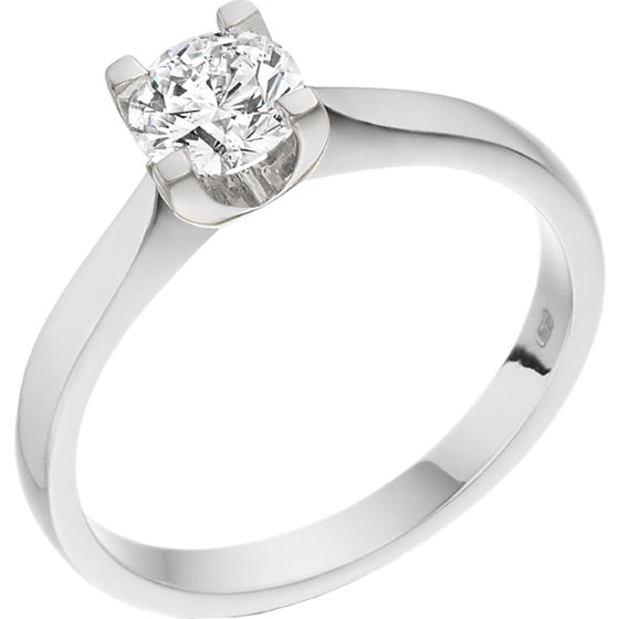 Single Stone Engagement Ring for Women in 18ct White Gold with a Round Cut Diamond in a 4-claw Setting on Offer-img1