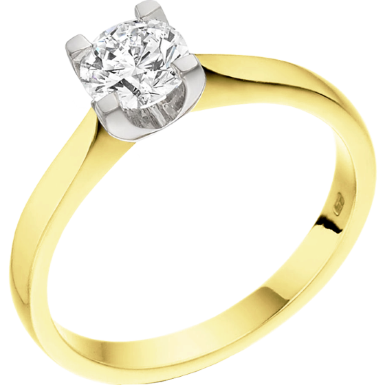 Single Stone Engagement Ring for Women in 18ct Yellow and White Gold with a Round Cut Diamond in a 4-claw Setting-img1