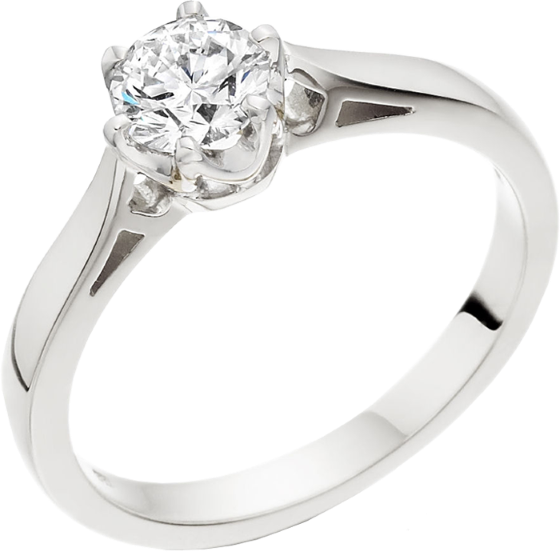 Single Stone Engagement Ring for Women in 9ct White Gold with a Round Brilliant Cut Diamond in a 6-claw Setting-img1