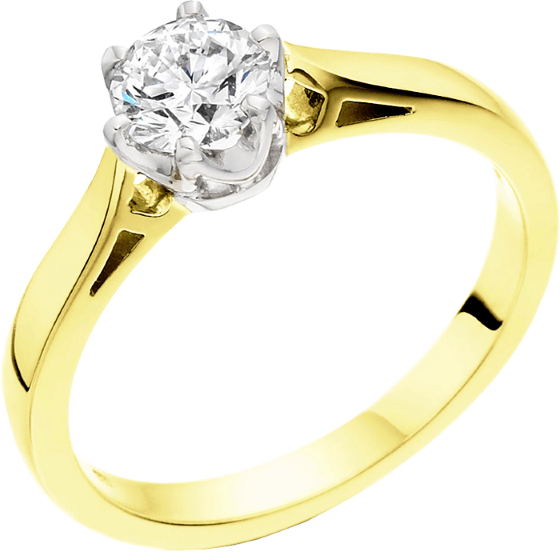 Single Stone Engagement Ring for Women in 18ct Yellow and White Gold with a Round Brilliant Cut Diamond in a 6-claw Setting-img1