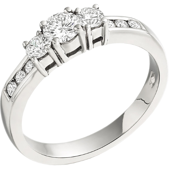 Three Stone Ring with Shoulders/Engagement Ring for women in 18ct white gold with 3 round diamonds and diamonds on the shoulders-img1
