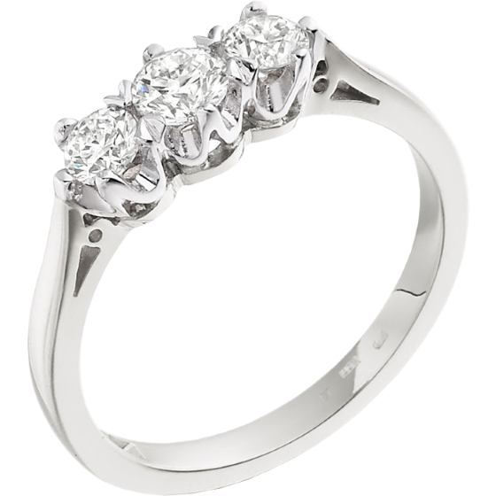 Three Stone Ring/Engagement Ring for women in 18ct white gold with 3 round diamonds in a 6-claw setting-img1