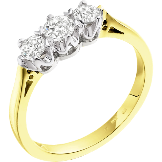Three Stone Ring/Engagement Ring for women in 18ct yellow and white gold with 3 round diamonds in a 6-claw setting-img1