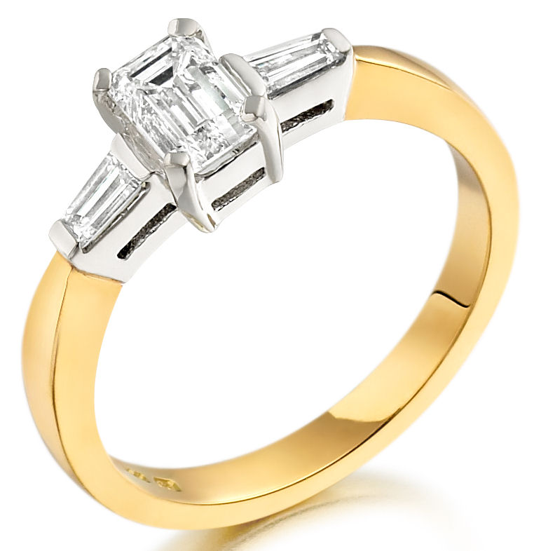 Single Stone Engagement Ring With Shoulders/Three Stone Ring for women in 18ct yellow and white gold with an emerald cut centre and two baguette diamonds-img1