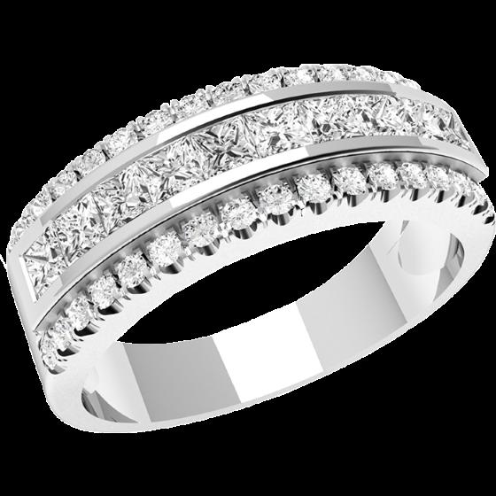 Inel Semi Eternity/Verigheta cu Diamant Dama Platina cu 5 Diamante Rotund Briliant si Princess-img1