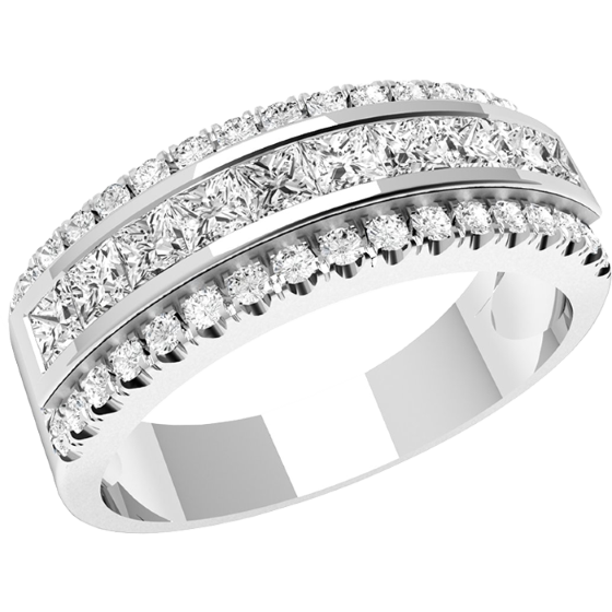 Inel Semi Eternity/Verigheta cu Diamant Dama Aur Alb, 18kt cu 5 Diamante Rotund Briliant si Princess-img1