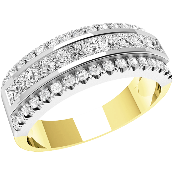 Half Eternity Ring/Dress Cocktail Ring for women in 18ct yellow and white gold with princess cut & round diamonds-img1