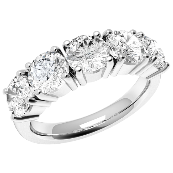 Half Eternity Ring for women in 18ct white gold with 5 round diamonds in a 4-claw setting-img1