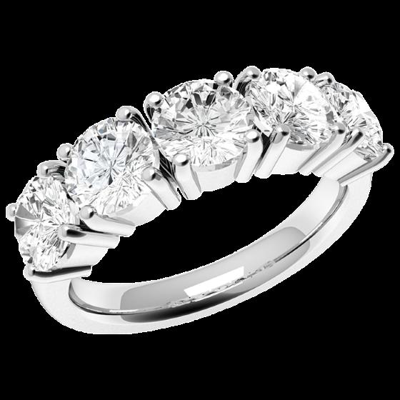Inel Semi Eternity Dama Aur Alb, 18kt cu 5 Diamante Rotund Briliant Setate cu 4 Gheare-img1