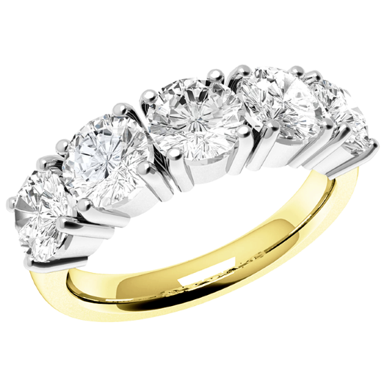 Half Eternity Ring for women in 18ct yellow and white gold with 5 round diamonds in a 4-claw setting-img1