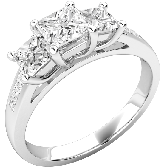 Three Stone Ring with Shoulders/Engagement Ring for women in platinum with 3 princess cut diamonds & diamonds on the shoulders-img1