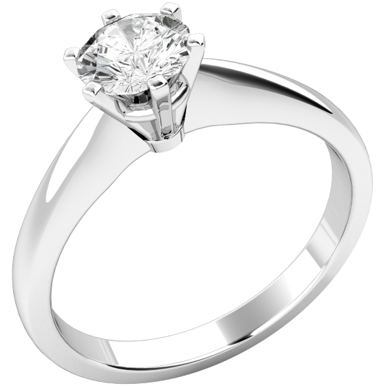 Single Stone Engagement Ring For Women In Palladium With A Round Diamond 6 Claw Setting