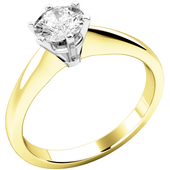 Single Stone Engagement Ring for Women in 18ct Yellow and White Gold with a Round Diamond in a 6-claw Setting-img1