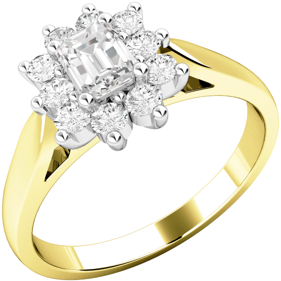 Cluster Engagement Ring For Women in 18ct Yellow and White Gold with an Emerald Cut Centre and Round Diamonds Surrounding-img1