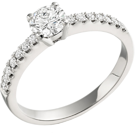 Single Stone Engagement Ring With Shoulders for Women in 18ct White Gold with a Round Centre and Round Shoulder Diamonds-img1