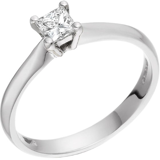 Single Stone Engagement Ring for Women in 18ct White Gold with a Princess Diamond in a 4-claw Setting-img1