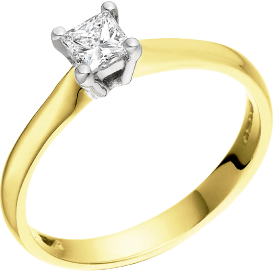 Solitär Verlobungsring für Dame in 18kt Gelbgold und Weißgold mit einem Princess Schliff Diamanten in 4er Krappenfassung-img1