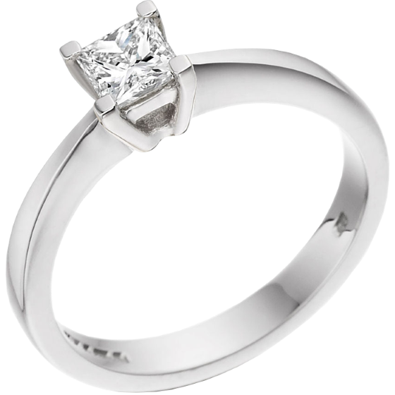 Single Stone Engagement Ring for Women in 18ct White Gold with a Princess Diamond in a Claw Setting-img1